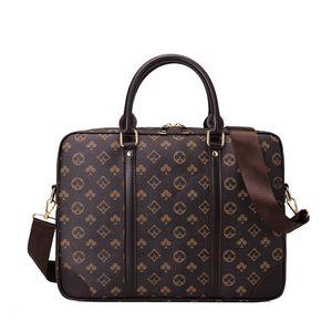 SanBenas Aktentasche mit großer Kapazität Männliche Druckhandtaschen Damen und Herren Aktentasche Laptoptasche Business Casual Shoulder Messenger Weiblich (braun)