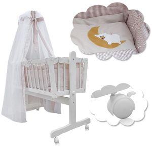 Baby Wiege Kinder Himmel Bett Stubenwagen Beistellbett + 9 tlg. Zubehör weiß/beige