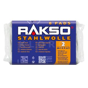 RAKSO® Stahlwolle Pads Sorte 2   8 Pads = 200 g   010280