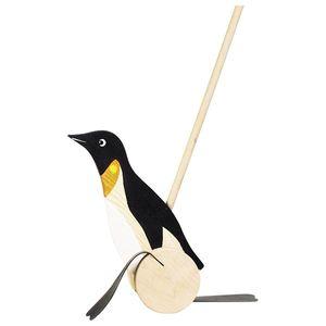 goki WP005 Schiebetier Pinguin, schwarz/weiß/natur