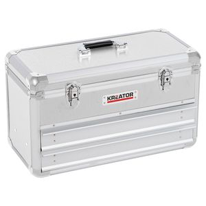 Werkzeugkoffer abschließbar leer 2 Schubladen - Silber