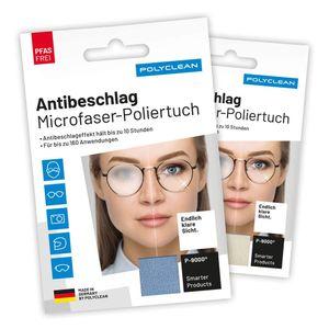 2er-Set   Polyclean Antibeschlagtuch   Antifog-Tuch   Microfaser-Brillen-Poliertuch   Deutsche Produktion   PFAS frei