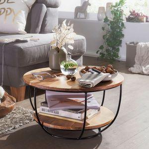 WOHNLING Couchtisch 60x34,5x60 cm Akazie Massivholz / Metall Sofatisch | Design Wohnzimmertisch Rund | Stubentisch Industrial Braun | Tisch mit Ablage