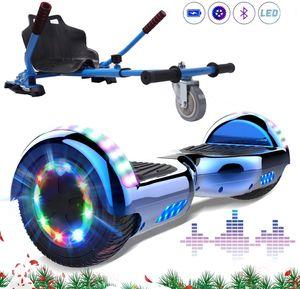 Markboard 6,5 Zoll Hoverboard Blau+ Hoverkart blau, mit Bluetooth und 700W motor |LED-Leuchten|Self Balance Elektroscooter + Gokart, Elektroroller mit Hoversitz