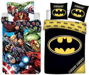 Marvel´s The Avengers & Batman - 2 x Bettwäsche-Set mit Wendemotiv, 135x200 & 80x80