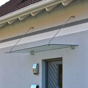 HOME DELUXE - Glasvordach 200x90cm V1 Türüberdachung Türvordach Sicherheitsglas