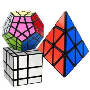 Zauberwürfel 3 Pack Megaminx + Pyraminx + Spiegel mit Geschenkbox, Speed Magic Puzzle Cube Zauber Würfel PVC Aufkleber für Kinder und Erwachsene