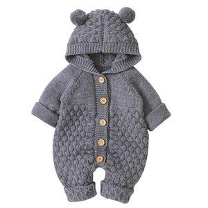 Neugeborenes Baby Ohr Kapuze Gestrickte Strampler Overall Winter wärmer Schneeanzug für Jungen Mädchen