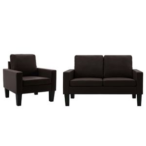 Sofagarnitur 2-tlg. Couch Loungesofa Sofa-Set Braun Kunstleder