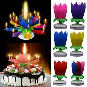 6 Stk Rotierende Lotuskerze Geburtstagsblume Musikalische Blumenkuchen Kerzen