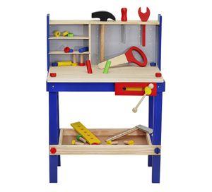 Werkbank Set Holzwerkstatt Heimwerker Schrauben Schraubstock Alles aus Holz 6860