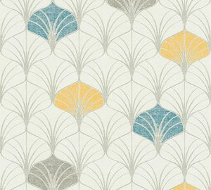 A.S. Création Art Deco Tapete Pop Style Vliestapete grau blau gelb 10,05 m x 0,53 m