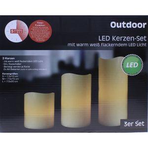LED Kerze Kunststoff Timer für Innen 10 15 20cm 3er Set