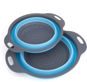 Faltbarer Seiher, 2 Stück Faltbare Abtropfsieb Silikon Faltbarer Nudelsieb Faltbar Silikon Filter Gemüse Frucht Korb Für Küchenzubehör Set (Blau)