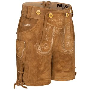 PAULGOS Kinder Trachten Lederhose kurz - KK1 - Echtes Leder - Größe 86 - 164, Farbe:Hellbraun, Größe:164
