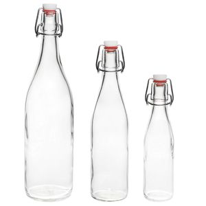 BUEGEL-250  12 Stück 250 ml Bügelflaschen Bügelflasche Glasflasche mit Bügelverschluss Drahtbügel Flasche Bügelverschluss-Falsche Schnaps-Flasche Weinflasche