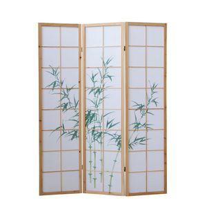 Homestyle4u 264, Paravent Raumteiler 3 teilig, Holz Natur, Reispapier Weiß, Bambus Motiv Grün