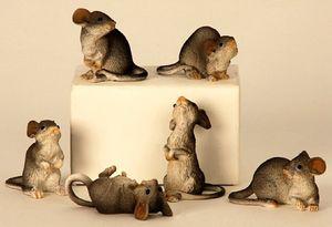 6 Mäuse Figuren    Dekoration für Haus und Garten