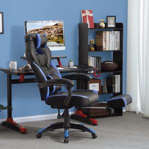Gaming Chair Gamingstuhl, Bürostuhl, Schreibtischstuhl mit einer S-förmigen Rückenlehne ausgestattet , schwarz-Blau