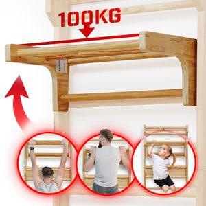 Physionics® Abnehmbare Klimmzugstange für Sprossenwand - belastbar bis 100 kg, 3 Sprossen, 73 x 45 x 27 cm, aus Holz, höhenverstellbar - Klimmzugbügel, Reckstange, Einhängebügel, Turnwand
