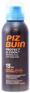 Piz Buin Protect & Cool Refreshing Sun Mousse SPF15 mittlerer Schutz 150 ml