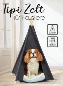 Haustier Zelt 60x60x80 cm - Hundehaus in grau