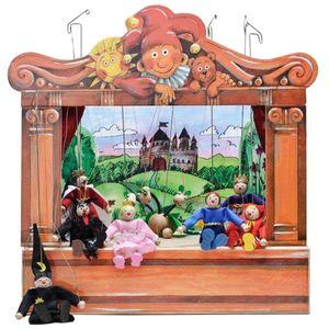 Historisches Holz Puppentheater mit 8 Puppen und 4 Bühnenbildern