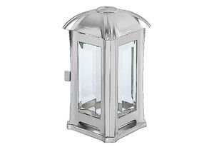 METALLWARENFABRIK MOLL Grablaterne Edelstahl mit Glas matt 14x14x24cm inox