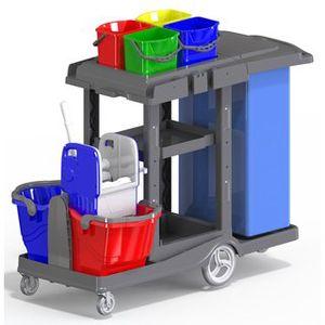 Reinigungswagen Systemwagen Deluxe aus Kunststoff mit 4 Farbsystem