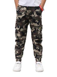 IEFIEL Kinder Jungen Camouflage Cargohose Sport Fitness Lange Pants Laufhose Freizeithose mit Taschen
