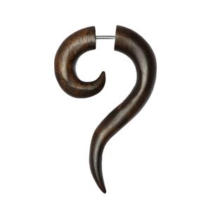 1 Stück Fake Plug Haken Ohrstecker aus dunklem Rosenholz Chirurgenstahl 316L Ohrschmuck Ohrringe Ohrhänger