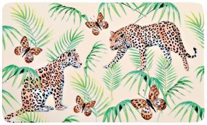 Kesper Frühstücksbrettchen Leopard aus Melamin, 23,5 x 14,5 cm, Schneidebrett mit 4 Elastikfüßen, schnittfest, spülmaschinengeeignet, Schneidebrett Ku