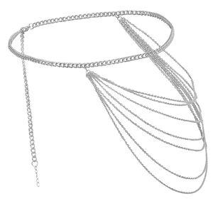 Damen Hüftgürtel Metall Kleidgürtel Taillengürtel Quasten Verschönerung Taille Kette aus Metall Farbe Silber