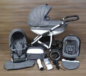 LUXUS Kombi Kinderwagen  3 in 1 Komplettset - grau/weiß R1 Gestell weiß