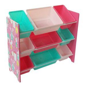 Kinder Aufbewahrungsregal Spielzeug- und Bücherregal Spielzeugkiste Kinderkommode mit 9 Boxen aus Kunststoff, Rosa (84 x 60 x 30 cm)