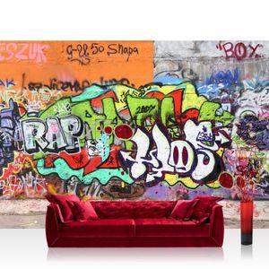 Vlies Fototapete no. 0032 - 200X140 cm - Graffiti Stone Wall Kindertapete Tapete Kinderzimmer Graffiti Streetart Graffiti Sprayer 3D bunt bunt liwwing (R)