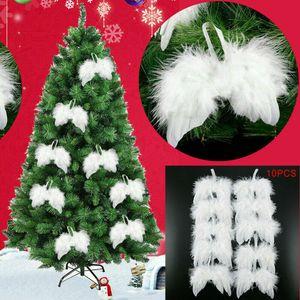 10 x Engelsflügel Federn Flügel Engel Anhänger Weihnachten Taufe 16cm Deko