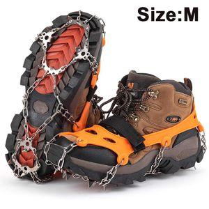 Steigeisen für Bergschuhe mit 19 Edelstahl Spikes - Profi Anti-Rutsch Schuhkrallen für Schnee & Eis Winter Grödel Spikes für Schuhe - Schuh-Ketten zum Wandern