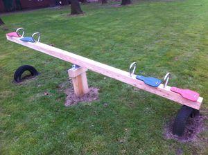 Kinderholzwippe aus Lärche für 2 Kinder Garten-Holzwippe Wippen im Freien - (3068)