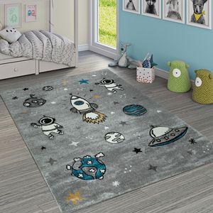Kinderteppich Jungen Mädchen Grau Kinderzimmer Kurflor Weltall Astronaut , Grösse:140x200 cm