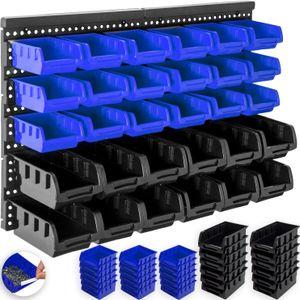 Masko® Stapelboxen Wandregal 32tlg Box Sichtlagerkästen Schüttenregal Steckregal, Stapelboxen :Schwarz/Blau
