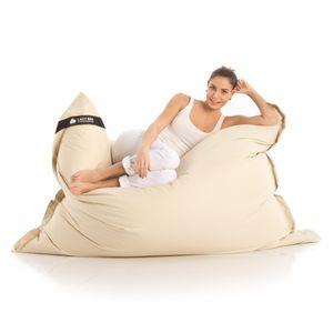 Original LAZY BAG Indoor & Outdoor Sitzsack XXL 400L Riesensitzsack Sitzkissen Sessel für Kinder & Erwachsene 180x140cm - Beige