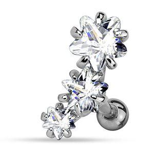 viva-adorno 1,2mm Helix Piercing 3 Sterne Kristalle Stecker Cartilage Ohrpiercing Knorpelpiercing 316L Chirurgenstahl Z515.D8
