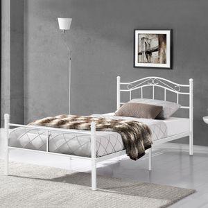 Metallbett 90x200 Weiß Bettgestell Bett Schlafzimmer Jugendbett [en.casa]