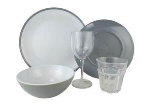 Camping Geschirr Melamingeschirr-Set 5-teilig 1-Person Kampa Grau-Weiss Essgeschirr inkl.Wein und Wasserglas