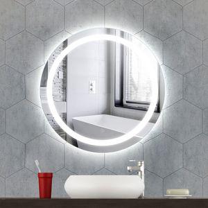 LED Rund Badspiegel,Badezimmerspiegel,Badspiegel mit Beleuchtung,Badspiegel Wandspiegel Touchschalter 60x60cm