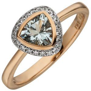 JOBO Damen Ring 54mm 585 Rotgold 21 Diamanten Brillanten 1 Aquamarin hellblau