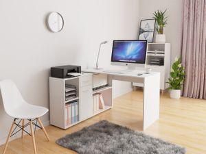 Mirjan24 Eckschreibtisch Armando, Schreibtisch L-Form, Ecktisch vom Hersteller, Arbeitszimmer (Farbe: Weiß)