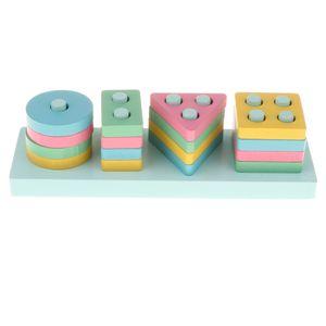 Montessori Holzspielzeug Stapelspiel Steckspiel Lernspielzeug für Kinder Farben und Formen zum Lernen