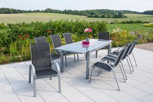 Merxx 9tlg. Amalfi Gartenmöbelset, schwarz - 8 Sessel, 1 Tisch - Farbe: schwarz - Maße: Sessel: 75x57x95 Tisch: 180/240x90x75; 8x 26310-317 +  1x 26453-219